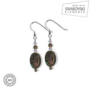 Sterling Silver Dyed Abalone Crystal Drop Earrings with Swarovski Elements