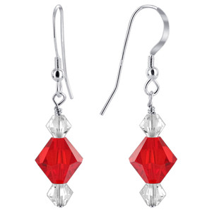 Sterling Silver Red & Clear Crystal Drop Earrings Made with Swarovski Elements