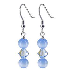 925 Silver Light Blue Cats Eye Beads Crystal Drop Earrings