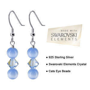 Sterling Silver Light Blue Cats Eye Beads Crystal Drop Earrings Made with Swarovski Elements