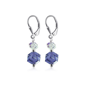 Sterling Silver Violet and Clear Crystal Drop Earrings Made with Swarovski Elements
