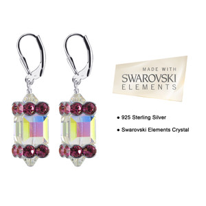 Sterling Silver Clear AB and Pink Crystal  Drop Earrings Made with Swarovski Elements