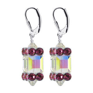 925 Silver Clear AB and Pink Crystal Drop Earrings