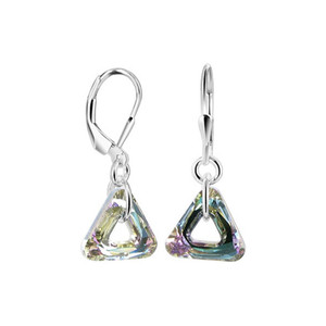Triangle Shape Swarovski Elements Vitrail Light Crystal 0.8 inch Sterling Silver Drop Earrings