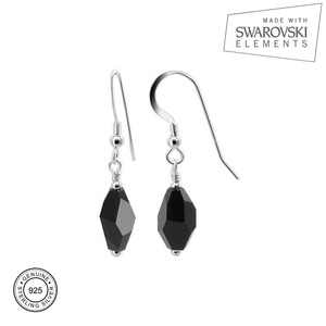 Sterling Silver Polygon Shape Crystal Drop Earrings