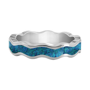 Blue Opal Wavy Design 5mm Eternity Sterling Silver Band