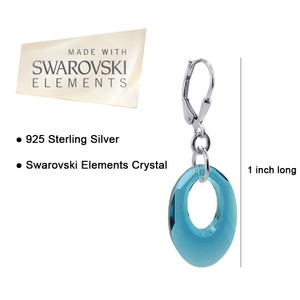 Sterling Silver Oval Blue Crystal Handmade Drop Earrings