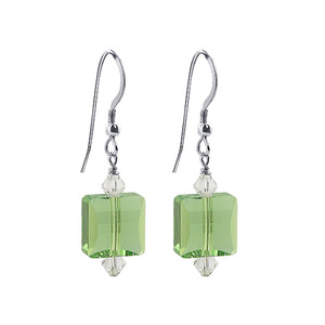 Sterling Silver Square Green Crystal Handmade Drop Earrings
