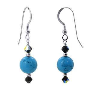 925 Silver Turquoise Beads Blue Crystal Drop Earrings