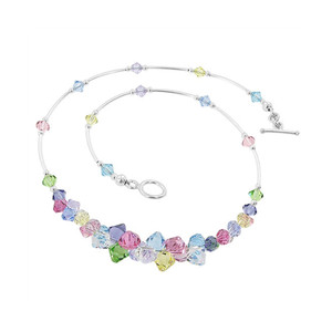 Multicolor Crystal Sterling Silver Necklace