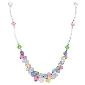 Swarovski Elements Multicolor Crystal Sterling Silver Necklace