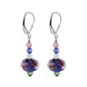 Sterling Silver Multicolor Glass Bead Crystal Handmade Drop Earrings