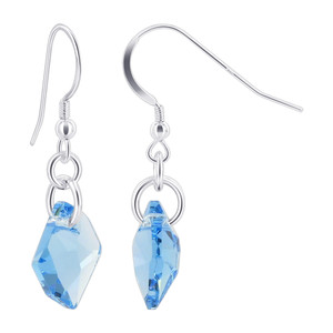 Swarovski Elements Blue Crystal Sterling Silver Handmade Drop Earrings