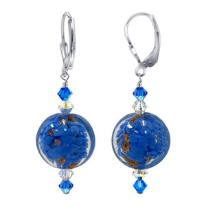 Sterling Silver Blue Lampwork Glass Bead Crystal Handmade Drop Earrings