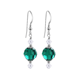 Sterling Silver Round Green Crystal Handmade Drop Earrings
