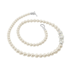 White Simulated Pearl With Swarovski Elements Crystal Silver Necklace