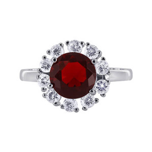 925 Silver January Birthstone Garnet CZ Accents Ring