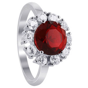 925 Sterling Silver Garnet Color Cubic Zirconia Solitare with accents Ring