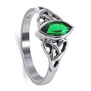 Marquise Shape CZ Green Cubic Zirconia Celtic knot Sterling Silver Solitaire Ring