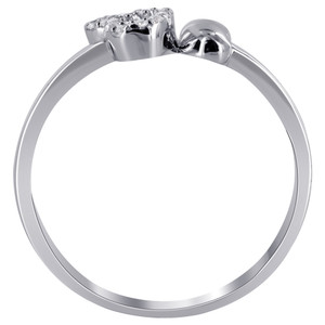 925 Silver Twin Open Hearts & CZ studded Ring