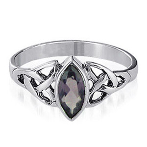 Marquise Shape CZ Purple Cubic Zirconia Celtic knot Sterling Silver Solitaire Ring