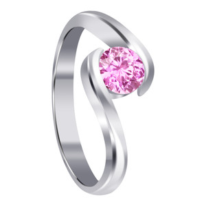 Pink Cubic Zirconia Solitaire Sterling Silver Promise Ring