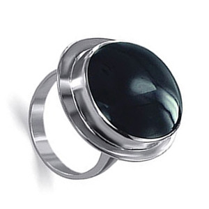 Oval Simulated Black Onyx Sterling Silver Ring