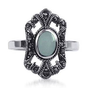 Marcasite Romantic Crown Design Oval Mother of Pearl Sterling Silver Ring