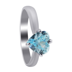 Sterling Silver Blue Aquamarine CZ Solitaire Heart Shape 3mm Ring