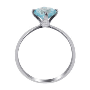 Sterling Silver Blue  CZ  3mm Ring