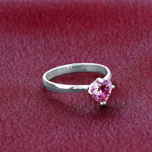 Sterling Silver Pink CZ Solitaire Heart Shape 3mm Ring