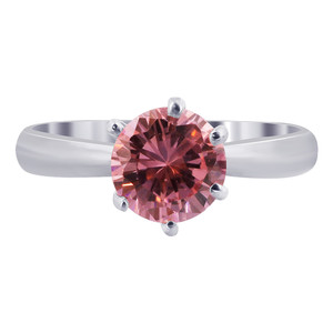 Sterling Silver CZ Pink Topaz Round Solitaire 3mm Ring