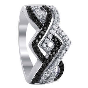 925 Sterling Silver Black and Clear Cubic Zirconia Overlapping Channel Set Ring