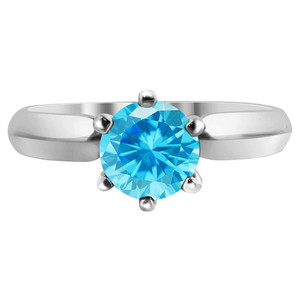 Sterling Silver Round Blue Aquamarine CZ Solitaire Heart Shape 3mm Ring