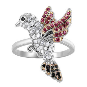 925 Silver Flying Bird Studded & 1mm Cubic Zirconia Ring