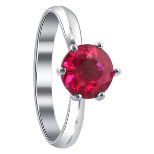 Sterling Silver Round Red Ruby Cubic Zirconia Solitaire Ring