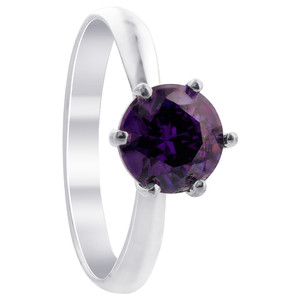 Sterling Silver Purple Round Amethyst Cubic Zirconia Solitaire Ring