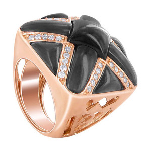 Black Onyx and CZ Cubic Zirconia X-Style Sterling Silver Copper Faceted Ring