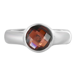 Polished Finish Garnet Gemstone Sterling Silver Ring