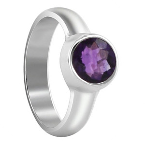 Polished Finish Amethyst Gemstone Sterling Silver Ring