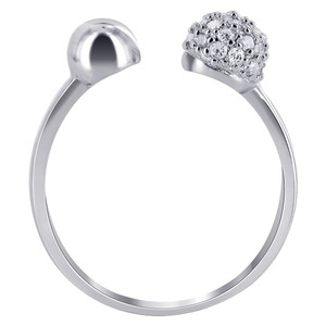 925 Sterling Silver Clear CZ Studded Ball with 5mm Ball Ring