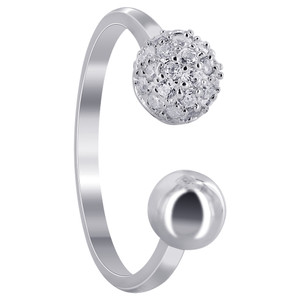 925 Sterling Silver 6mm Cubic Zirconia Studded Ball with 5mm Ball Ring