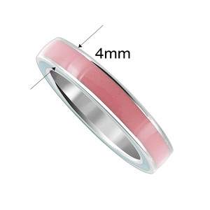 925 Sterling Silver Pink Enamel 4mm Women's Band Ring