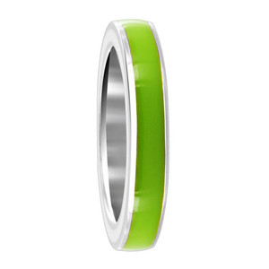 925 Sterling Silver Lime Green Enamel 4mm Womens Band Ring