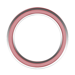 925 Sterling Silver Hot Pink Enamel 4mm Womens Band Ring