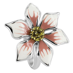 Sterling Silver White Flower Shape Cubic Zirconia Band Ring