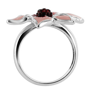 Sterling Silver Pink Flower Shape Cubic Zirconia Band Ring