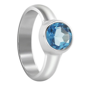 Round Topaz Gemstone Sterling Silver Solitaire Ring