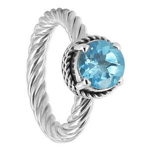 Round Blue Topaz Gemstone Sterling Silver Ring