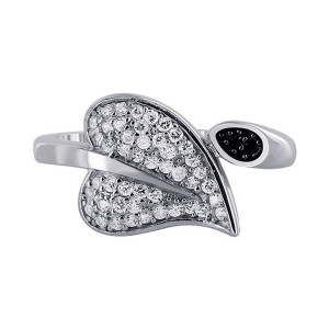Sterling Silver Pave Set Leaf Ring